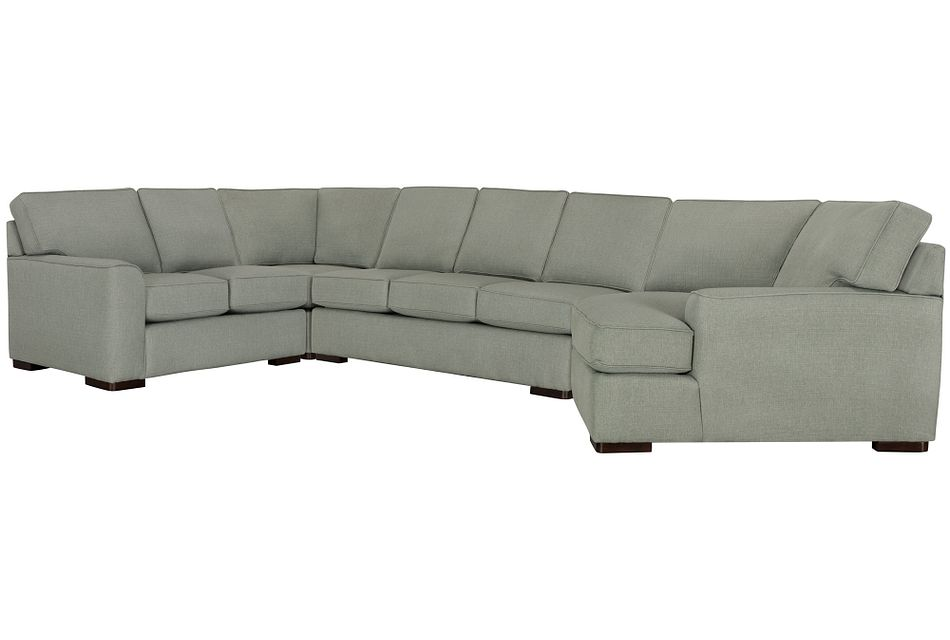 Austin Green Fabric Right Cuddler Memory Foam Sleeper Sectional