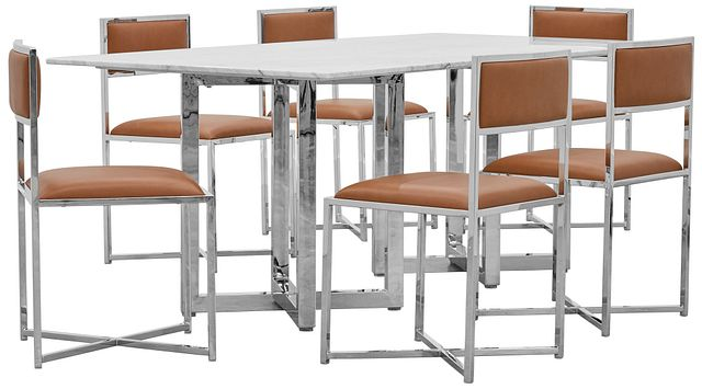 Amalfi Brown Marble Rectangular Table & 4 Metal Chairs (0)