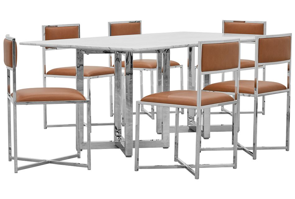 Amalfi Brown Marble Rectangular Table & 4 Metal Chairs