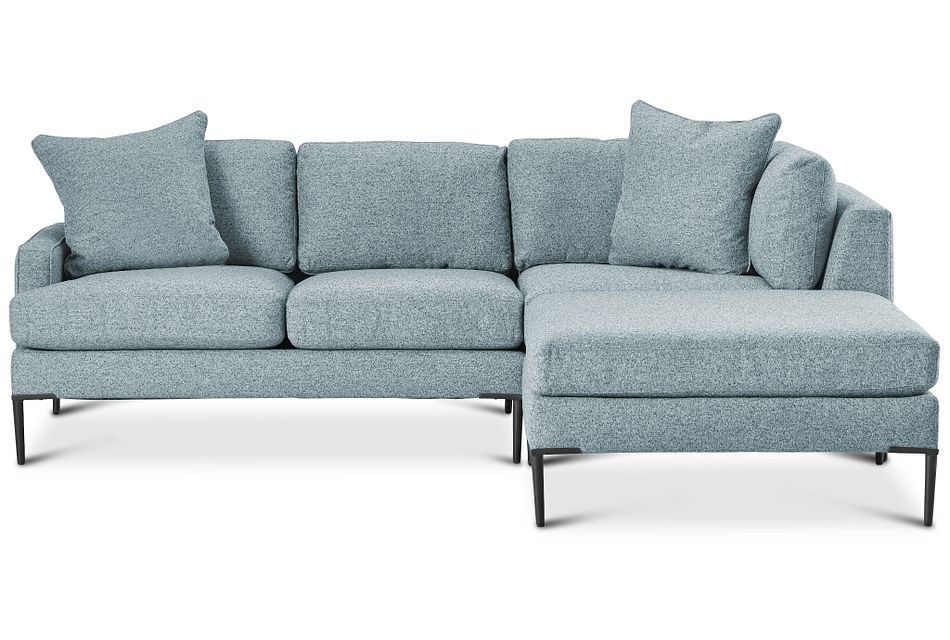 Morgan TEAL FABRIC Small Right Bumper Sectional w/ Metal Legs,  (2)
