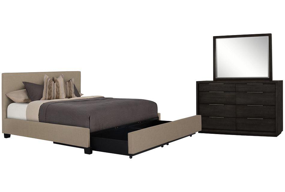 Madden Taupe Uph Platform Storage Bedroom