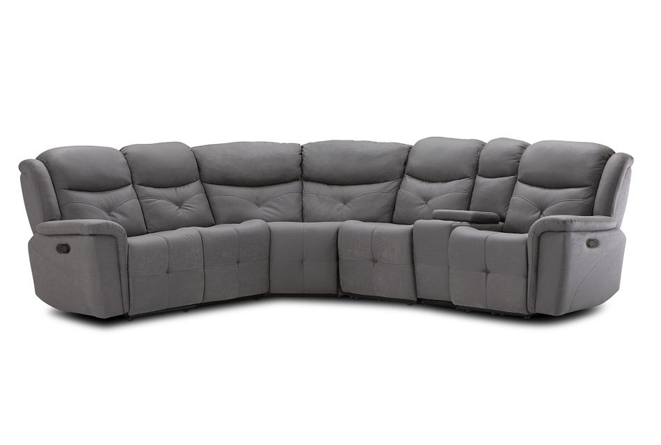 Calvin Light Gray Micro Medium Dual Manual 2-arm Sectional