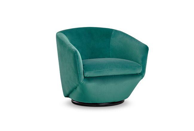 Darian Teal Velvet Swivel Accent Chair