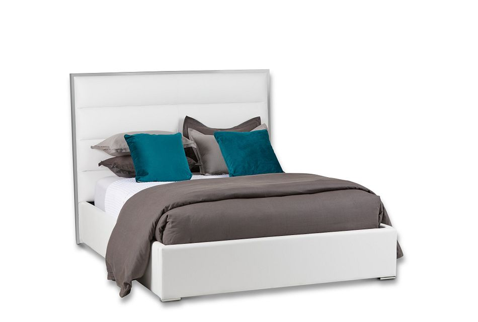 Cortina White Uph Platform Bed