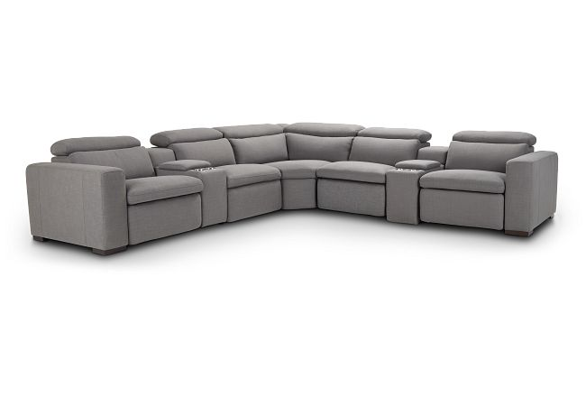 Arlo Gray Fabric Large Triple Power Reclining Two-arm Sectional