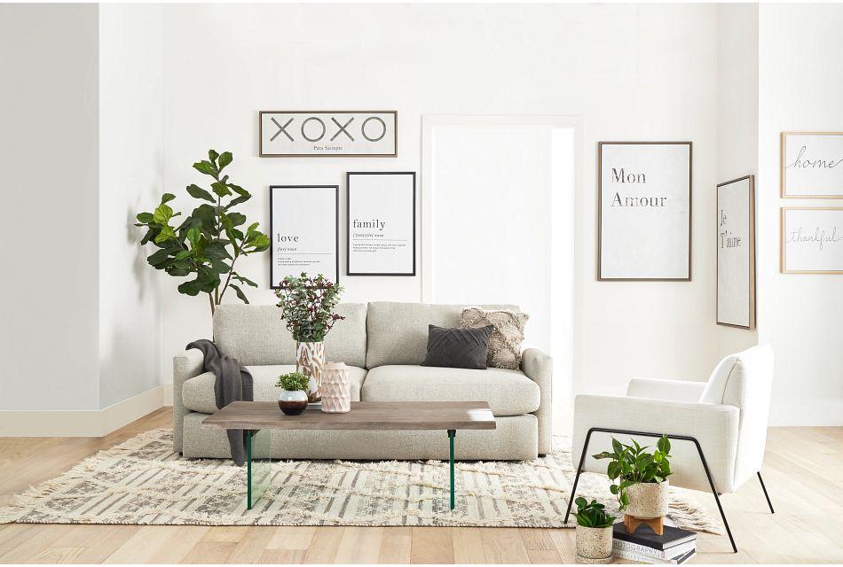 Noah Khaki Fabric Sofa,  (1)