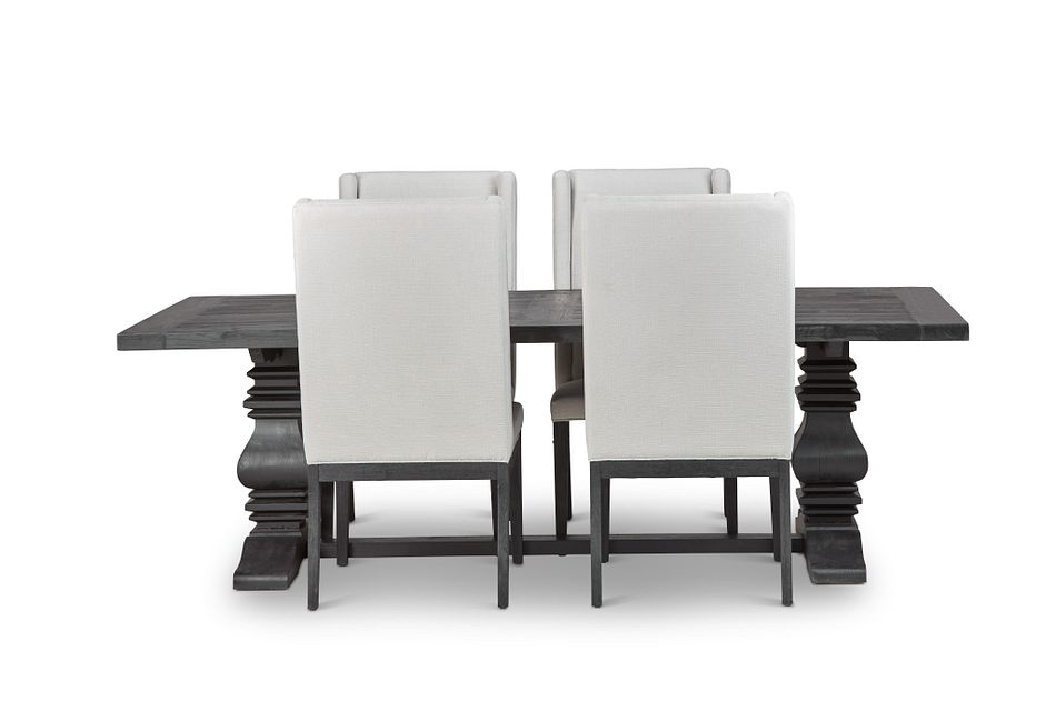"Hadlow Black 95"" Rectangular Table & 4 Upholstered Chairs"
