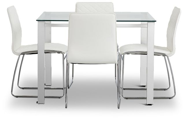 Skyline White Square Table & 4 Metal Chairs (3)