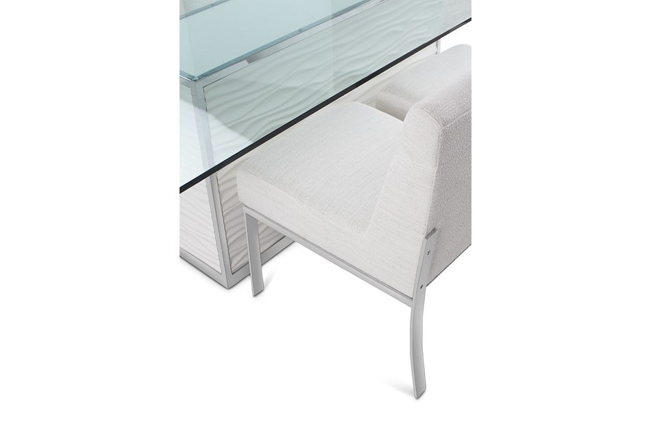 """Ocean Drive 100"""" Glass Table & 4 Upholstered Chairs"""