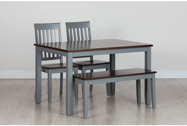 Santos Gray Two-tone Table, 2 Chairs & Bench