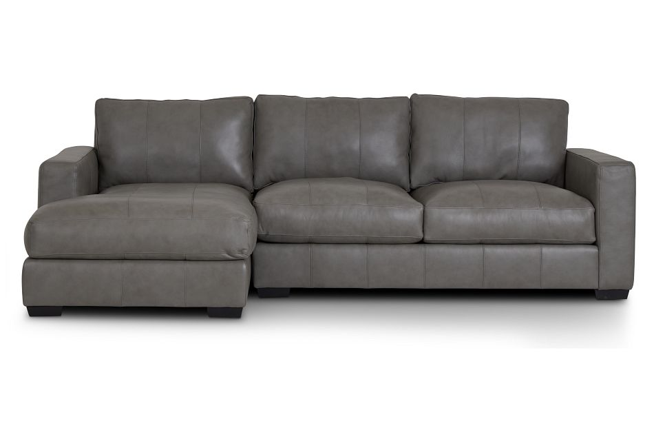 Dawkins Gray Leather Left Chaise Sectional,  (2)