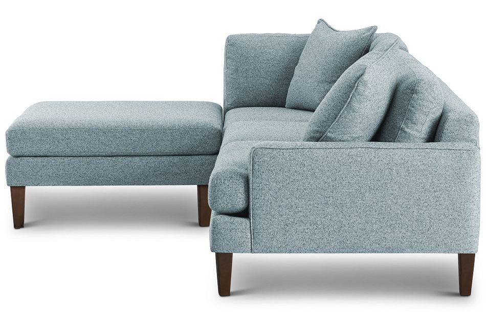 Morgan Teal Fabric Right Bumper Sectional W/ Wood Legs