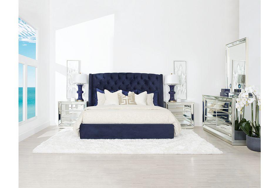 Raven Dark Blue  MIRRORED Platform Storage Bedroom, King (1)