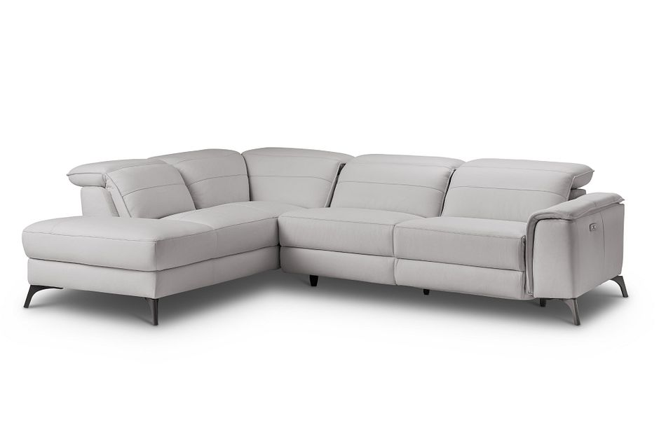 Pearson Gray Leather Left Bumper Power Reclining Sectional