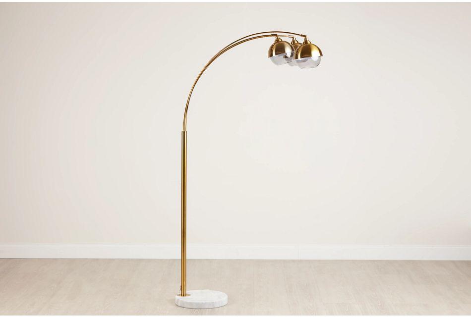Khia Gold Metal Arc Floor Lamp