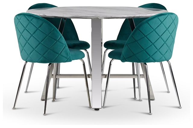 Capri Stainless Steel Dk Teal Round Table & 4 Upholstered Chairs (1)