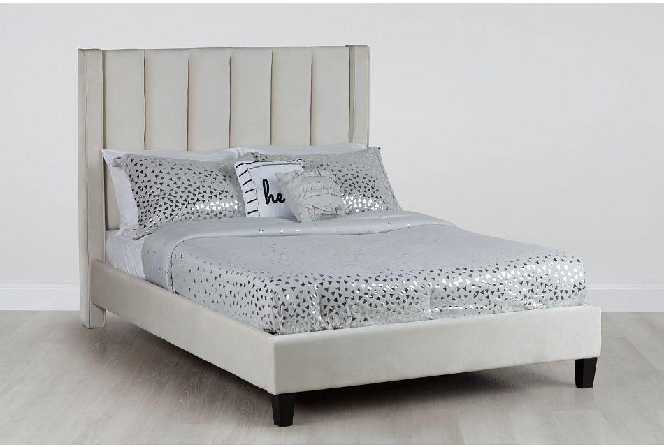 Audrey Beige Velvet Platform Bed