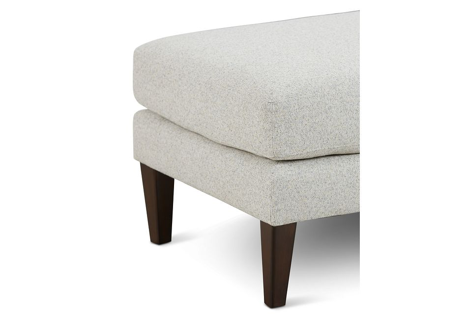 Morgan Light Gray Fabric Ottoman With Wood Legs