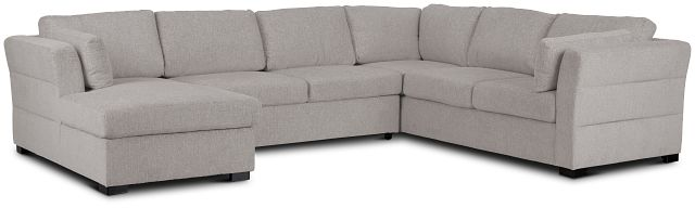 Amber Light Gray Fabric Large Left Chaise Sleeper Sectional (2)