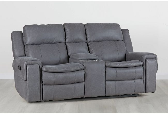 Scout Gray Micro Reclining Console Loveseat