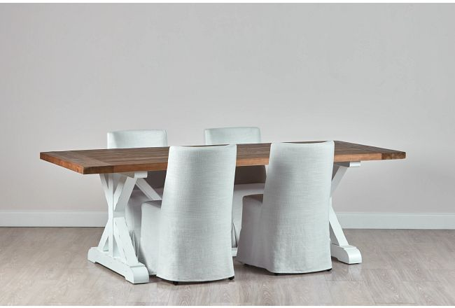 """Hilton Two-tone 96"""" Table & 4 Skirted Chairs"""