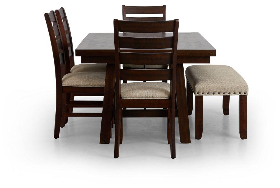 Jax Dark Tone Rect Table, 4 Chairs & Bench,  (2)