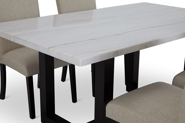Paloma White Marble Rectangular Table & 4 Upholstered Chairs