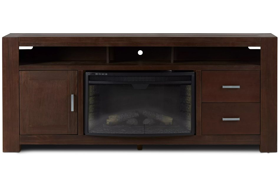 "Empire Dark Tone 84"" Tv Stand With Fireplace Insert"