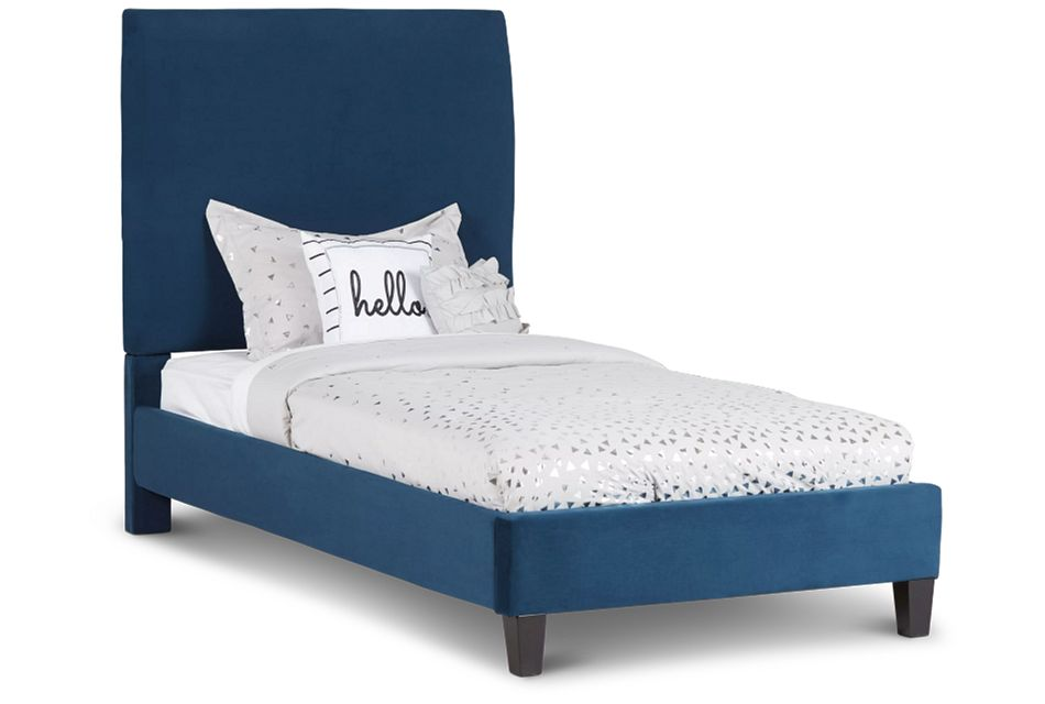 Lucy Dark Blue Uph Platform Bed
