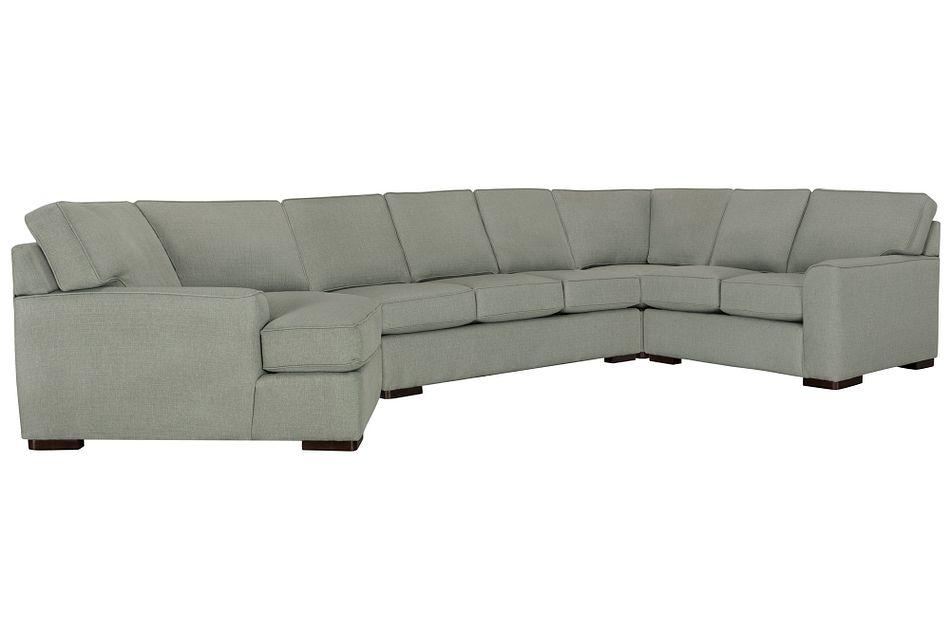 Austin Green Fabric Left Cuddler Innerspring Sleeper Sectional