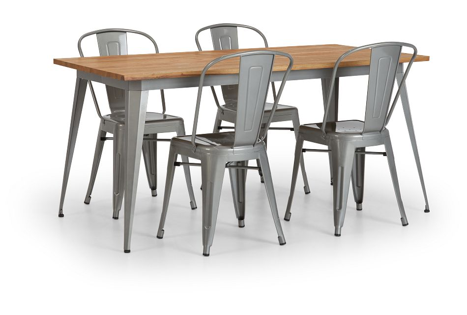 Huntley Light Tone Rect Table & 4 Metal Chairs