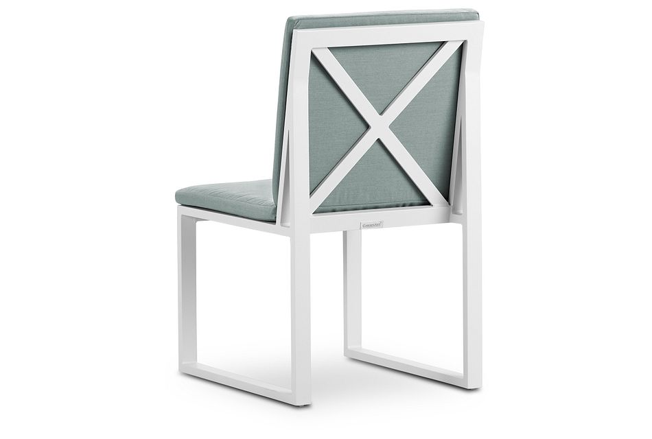 Linear White Teal Aluminum Cushioned Chair