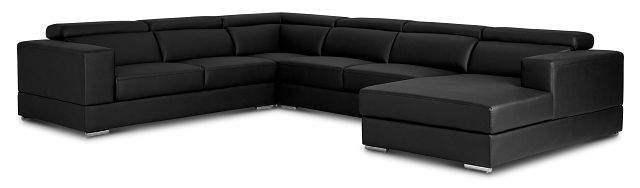 Maxwell Black Micro Large Right Chaise Sectional (1)