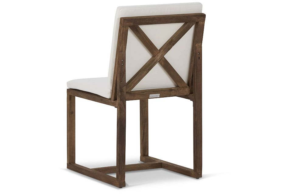 Linear Teak White Side Chair