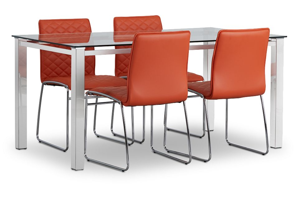 Skyline Orange Rect Table & 4 Metal Chairs