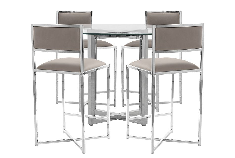 Amalfi Taupe Glass High Table & 4 Metal Barstools