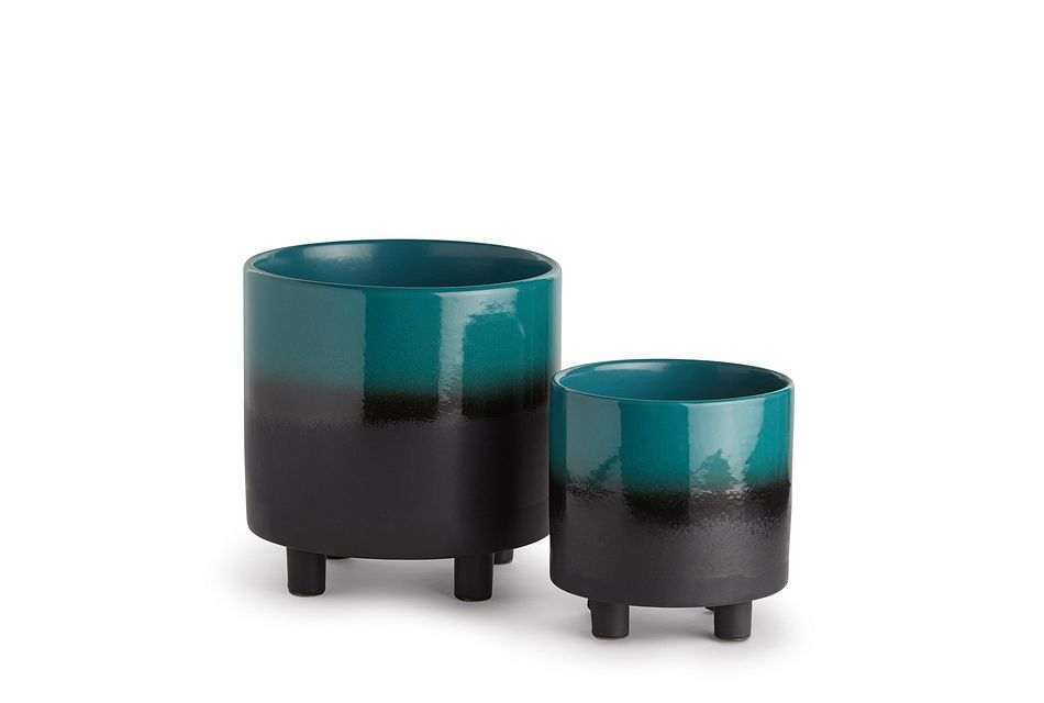 Mira Set Of 2 Teal Planter