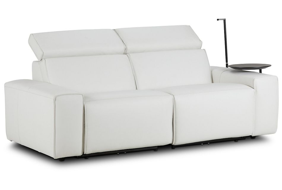 Carmelo White Leather Power Reclining Sofa With Right Table