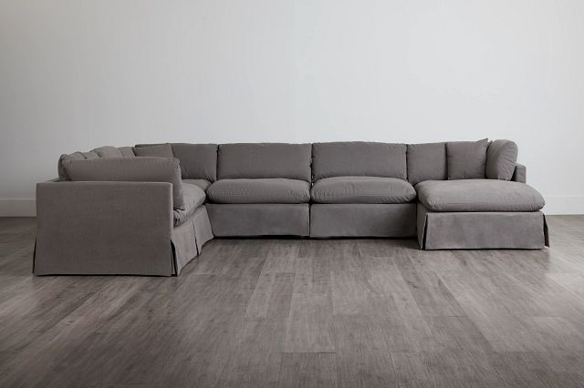 Raegan Gray Fabric Large Right Chaise Sectional