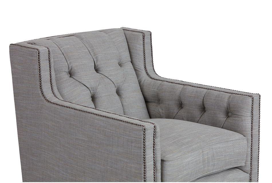 Candace Light Blue Fabric Swivel Chair