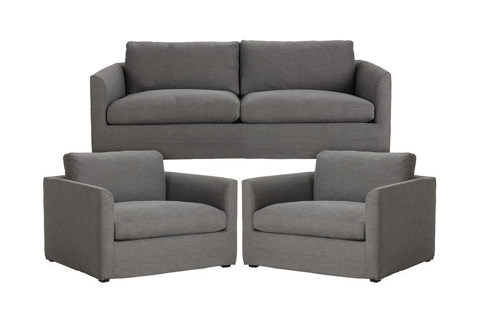 Willow Gray Fabric Small Living Room