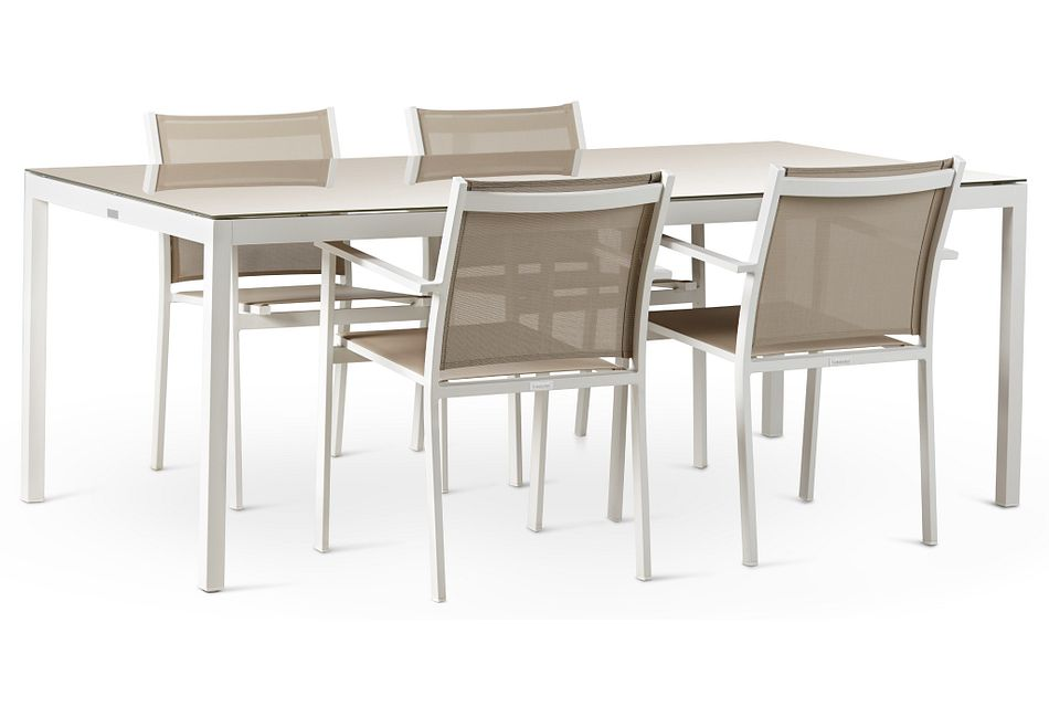 """Aventura Champagne 78"""" Table & 4 Arm Chairs,  (1)"""