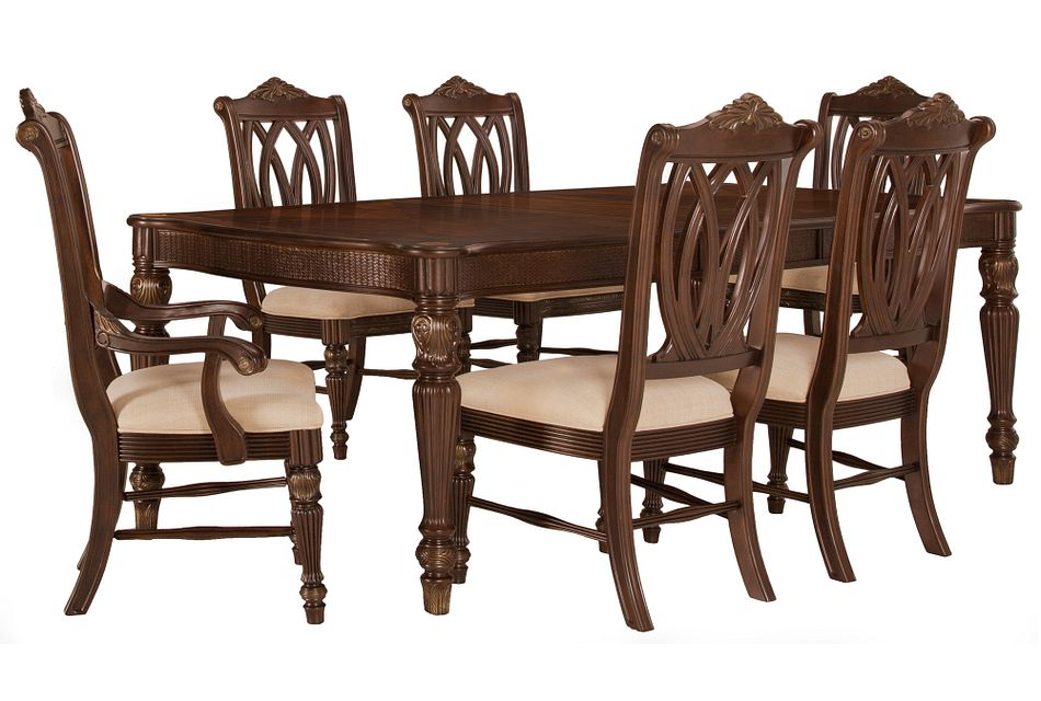 Tradewinds Dark Tone Rect Table & 4 Wood Chairs