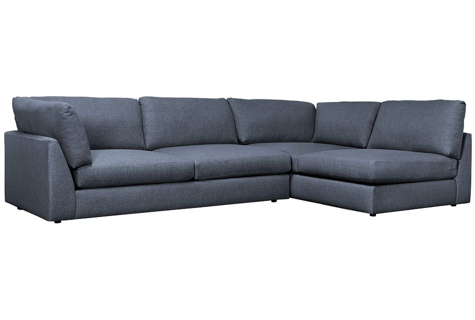 Harper Dark Blue Fabric Small Left Arm Sectional