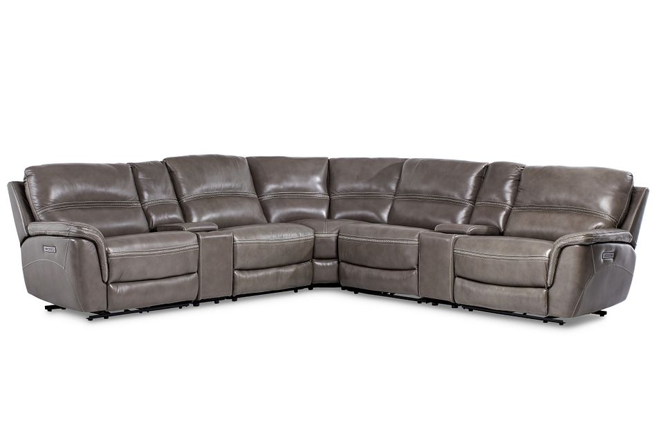 Bryson Dark Gray Lthr/vinyl Large Triple Power Reclining Two-arm Sectional
