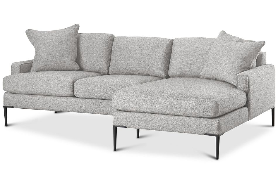 Morgan Light Gray Fabric Small Right Chaise Sectional W/ Metal Legs