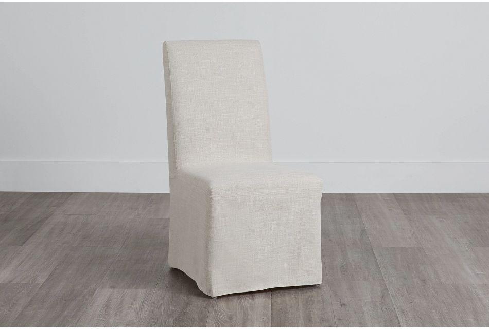 Harbor Light Beige Long Slipcover Chair With Medium-tone Leg