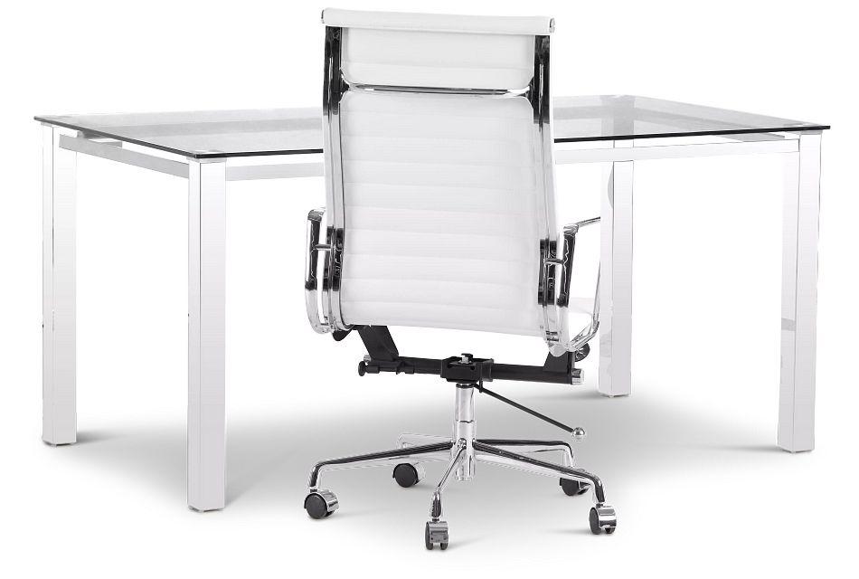Skyline Glass Desk And Chair,  (2)