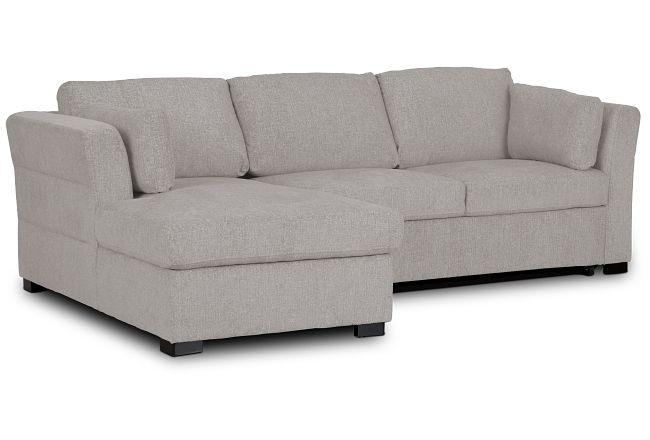 Amber Light Gray Fabric Small Left Chaise Sleeper Sectional