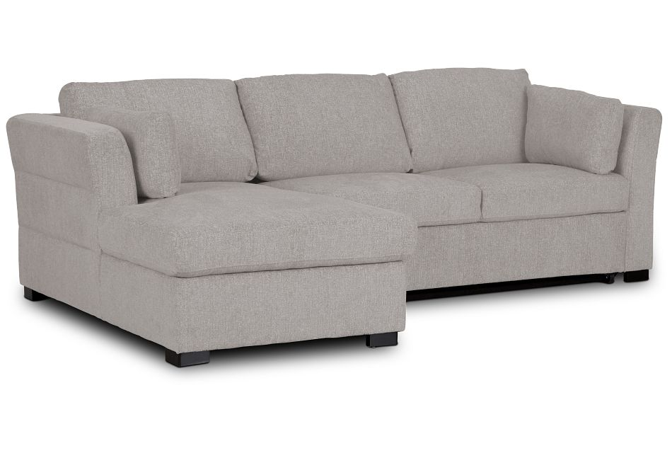 Amber Light Gray Fabric Small Left Chaise Sleeper Sectional,  (1)